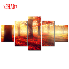 Unframed 5 Panels Modern Sunset Red Trees HD Picture Canvas Print Painting Wall Art For Wall Decor Home Decoration Artwork(China)