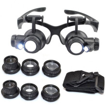 Magnifying Glasses 10X 15X 20X 25X Eye Jewelry Watch Repair Magnifier Glasses With 2 LED Lights New Loupe Microscope