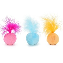 Funny Pet Cats Soft Cat Toy Catnip Toys Sound Balls Kitten Toys Candy Color Ball Assorted With Feather(China)