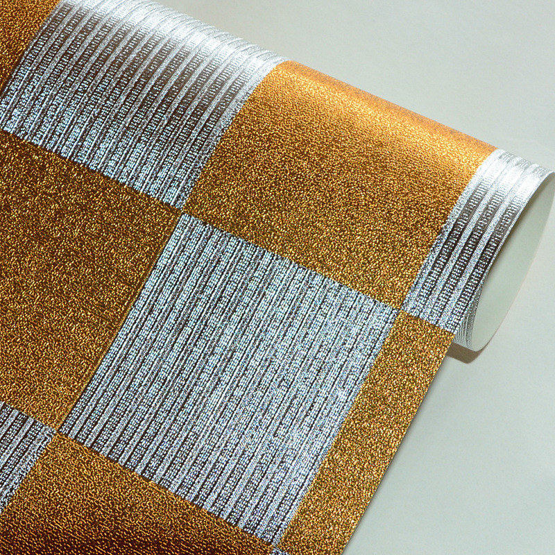 beibehang Embossed Golden Mosaic Wallpaper Gold Foil Silver Foil TV Background Wall Ceiling Wallpaper Glitter Wall Paper Roll<br>