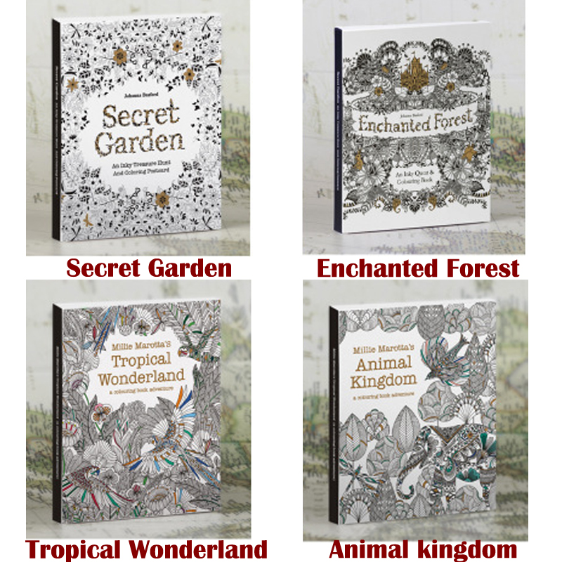 4 Picture album 1 set in English Secret Garden Gel Coloring Book color pencil painting graffiti coloring this reduced pressure<br>