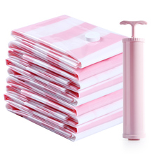 7pcs/lot Striped Small Pink Vacuum Storage Bags + Hand Pump Seal Compressed Bag Travel Luggage Organizer Waterproof Packaging