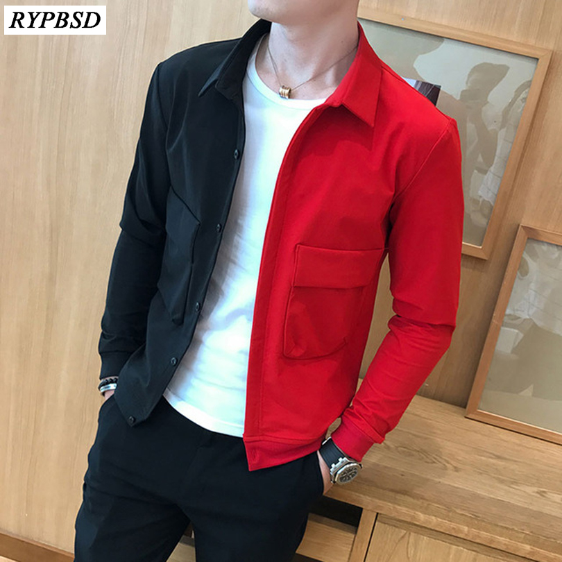 Patchwork Jacket Black Casual Fashion Mens Slim-Fit Hip-Hop Single-Breasted Red New title=