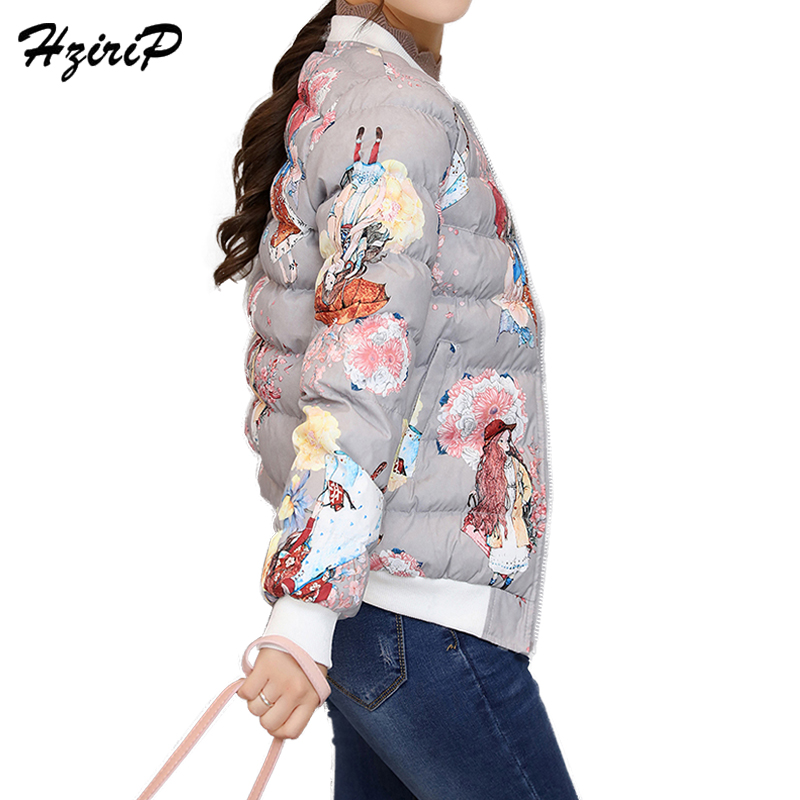 HziriP Fashion Slim Short Print Jaqueta Feminina Inverno Casual Full Sleeve Cotton White Baseball Womens Winter Jackets 2017Îäåæäà è àêñåññóàðû<br><br>