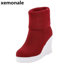 Women's Boots For Autumn Solid Plain Platform Wedges Boots Woman Slip On Knitted Ankle Boot Warm Shoes Woman XJL1