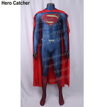Hero Catcher Superman Costume Man of Steel Superman Spandex Lycra Halloween Cosplay Zentai Suit Hero Man Of Steel Superman Suit(China)