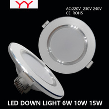 Led Downlights  6W 10W 15W  220V LED Ceiling Downlight 2835 Lamps Led Ceiling Lamp Home Indoor Lighting Free shipping