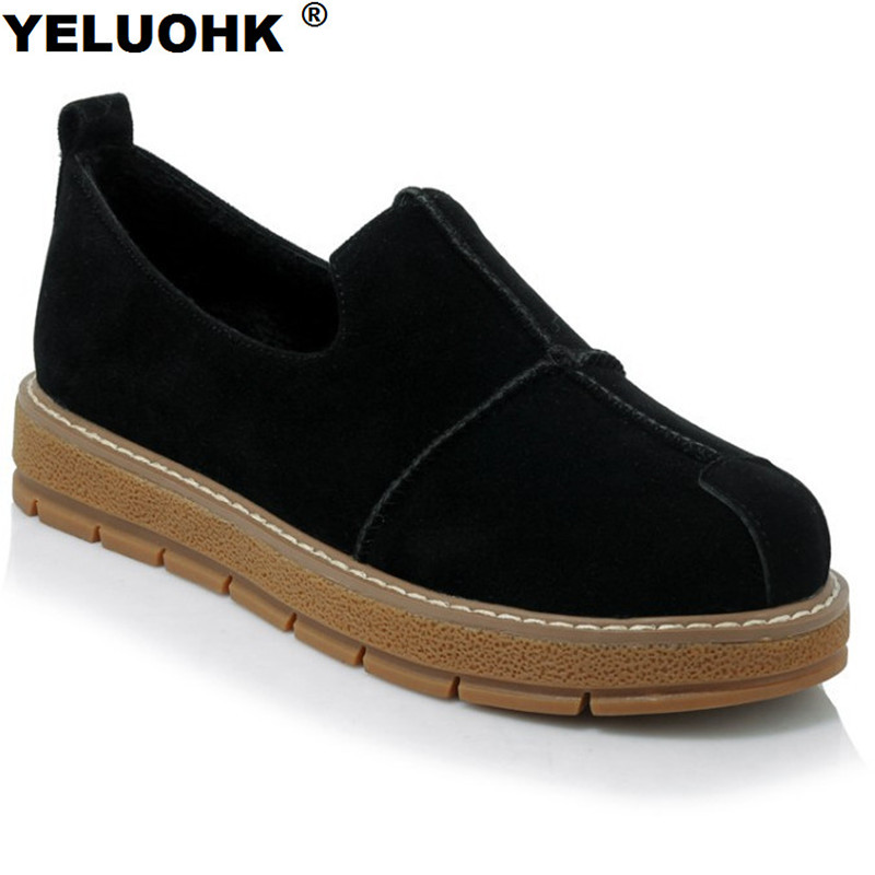 Large Size 43 Suede Leather Women Loafer Fahion Slip On Women Flat Comfortable Platform Driving Ladies Shoes Spring<br>