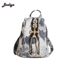 Handmade Tassel Pendant Girl's School Bags Large Capacity Shopping Backpacks Vintage Ethnic Floral Pringting Womens Backpack