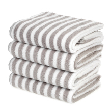 4pc Cotton Washing Towel Cleaning Wiping Cloth Washcloths Hand Hair Stripe Square Soft Face Car Towel House Cleaning Bathroom
