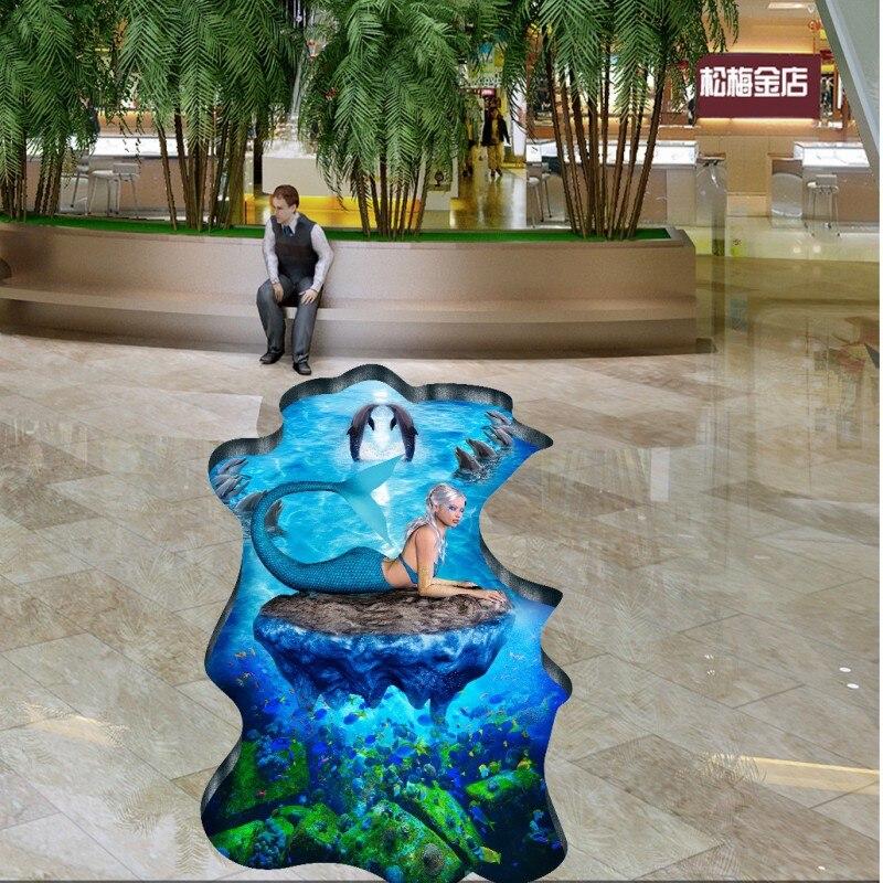 Free Shipping Underwater World Mermaid 3D Floor Painting waterproof lobby bedroom living room bathroom flooring mural<br>