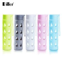 Diller 300/450ML Water Healthy Glass Bottle With Silicone Protective Fashion Drinking Teapot Sports Eco-friendly Travel Bottles