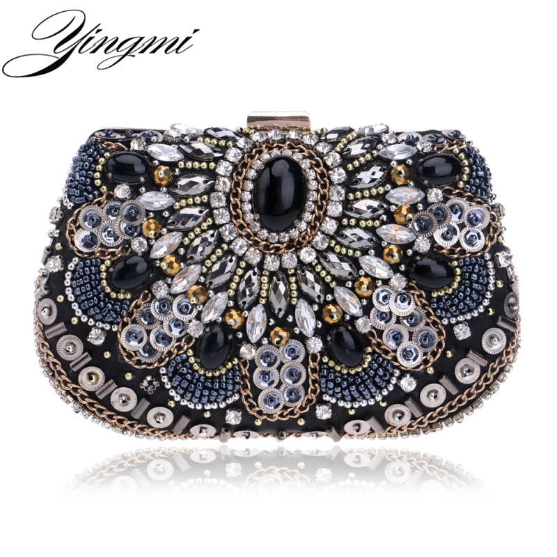 YINGMI women evening bags beaded wedding clutch purse handmade style evening bag for wedding chain diamonds embroidery bags<br>