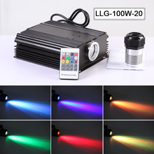 High power 100W LED light Fiber Optic power supply light engine with RGB 20key remote control(China)
