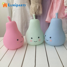 LumiParty Pear LED Night Lamp Candy Color Pear Shape Light Children Silicone Light Up Toys Kid Room Decorated For Children Kid(China)