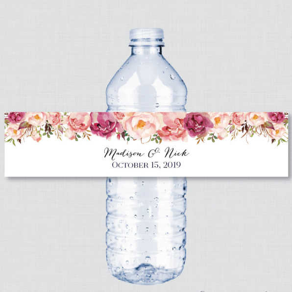 24 Pieces, Custom Red Pink Flower Wedding Custom Water Bottle Labels, Personalized Water Bottle, Birthday, Baptism