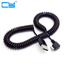 Buy 3M/10FT 90 degree right elbow Spring Coiled USB 2.0 Male Micro USB Data Sync Charger Cable Android mobile phones for $1.14 in AliExpress store