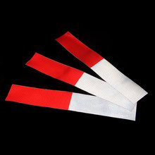 10Pcs Truck Safety Warning Tape Reflective Strip Red White Stickers Decals Car Styling Night Light Reflectors For Bumpt 5CMx30CM(China)