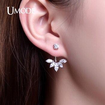 Umode joyería pendiente de la manera zirconia crystal leaf ear stud pendientes chaquetas oído de la joyería para las mujeres boucle d'oreille aros ue0242