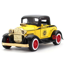 Simulation Alloy Retro Ford Classic Car Model Child Pull Back Sound Flashing Toy 1pcs Color random