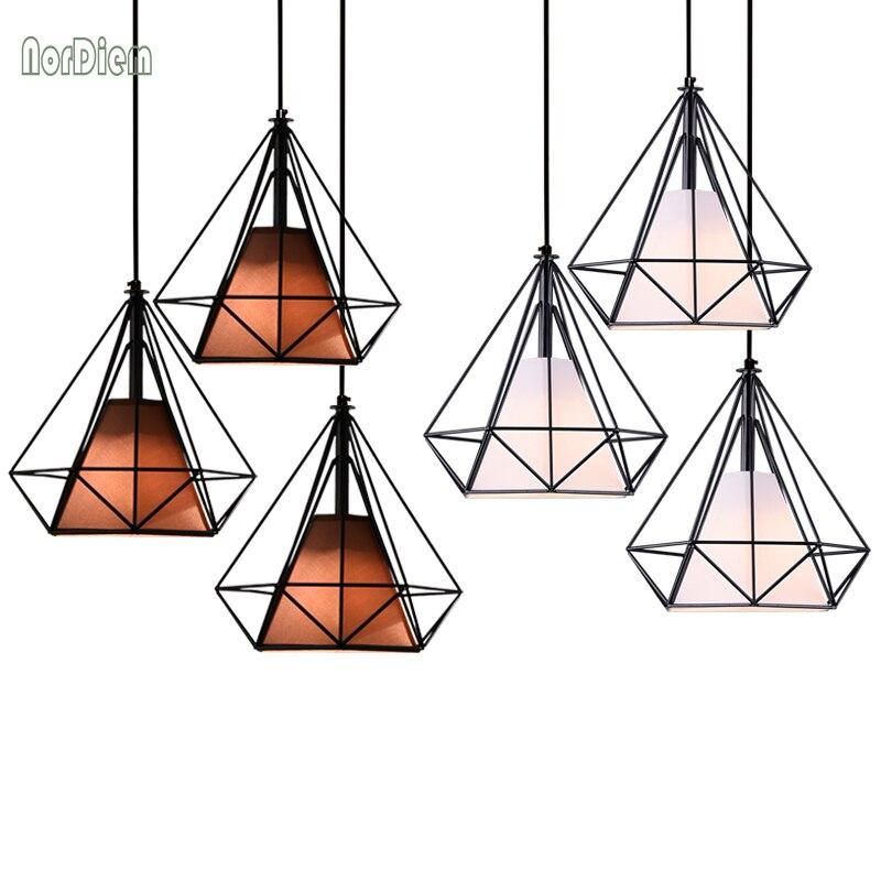Modern Iron Diamond Pendant Lights for Restaurant Bar Scandinavian Loft Metal Cage Pyramid Shade Pendant Lighting for Kitchen <br>