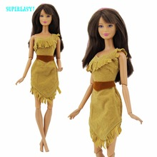 "Indian Princess Dress Exotic Outfit Copy Pocahontas Dollhouse Accessories Mini Gown Clothes For Barbie FR Kurhn Doll 11.5"" 12""(China)"