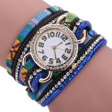 Fahion hand woman watch Dream Crystal Rivet Bracelet Braided Winding Wrap Quartz WristWatch reloj Korean Mini Watch well