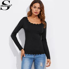 Sheinside Black Scalloped Fitting Tee Women Scoop Neck Long Sleeve Elegant T-shirt 2017 Autumn Sexy Shirt For Ladies(China)