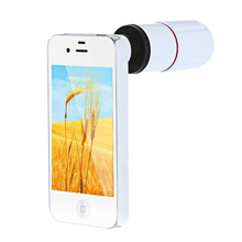 clearance 8X Magnification Mobile Phone Telescope Magnifier Optical Camera Lens with Tripod + Holder + Case for iPhone 4s White(China)