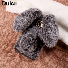 Dulcii Coque for Samsung Galaxy A5 2017 Case Bunny Fashion 3D Cute Rabbit Soft Fur Shell Rhinestone Cover for A3 2017 / A7 2017(China)