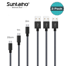 Micro USB Cable 2.4A 3 PACK Charger Cable,Suntaiho Nylon Fast Charging Data Mobile Phone Cable Samsung Android Phone