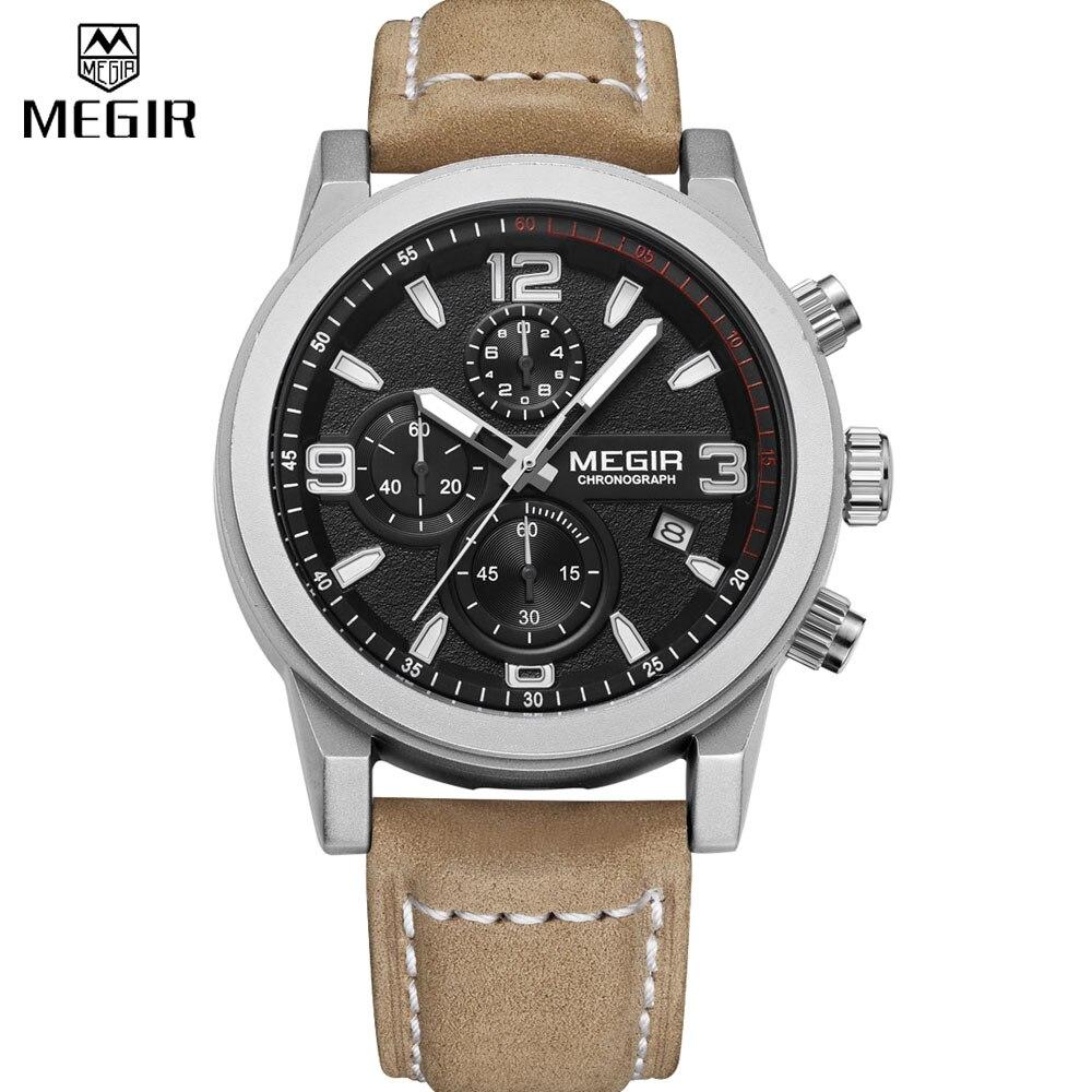 MEGIR mens watches luxury Chronograph Luminous Sport Genuine leather Quartz Wristwatch men relogio masculino esportivo<br><br>Aliexpress
