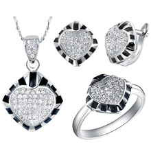 Casual and Trendy Women Party Necklace/Ring/Earrings Squareness Black Margin and Shiny Zircon  White Gold Jewelry Sets  T174-8#