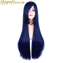 "long Straight Synthetic hair 32"" Dark Blue Cosplay Wigs Halloween Costume Party Heat Resistant Ladies hairpiece MapofBeauty"