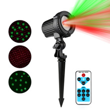 Outdoor Red Spotlight Light and Green Snowflake Laser Projector Christmas Laser Light IP44 Waterproof With IR Remote Control(China)