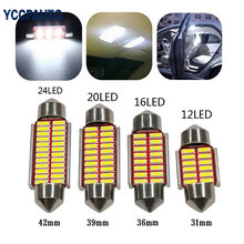 31mm 36mm 39mm 42mm Car Festoon Dome Interior LED Lights C5W 4014 LED CANBUS NO ERROR Lamp Auto Map Roof Reading Bulbs 10X(China)