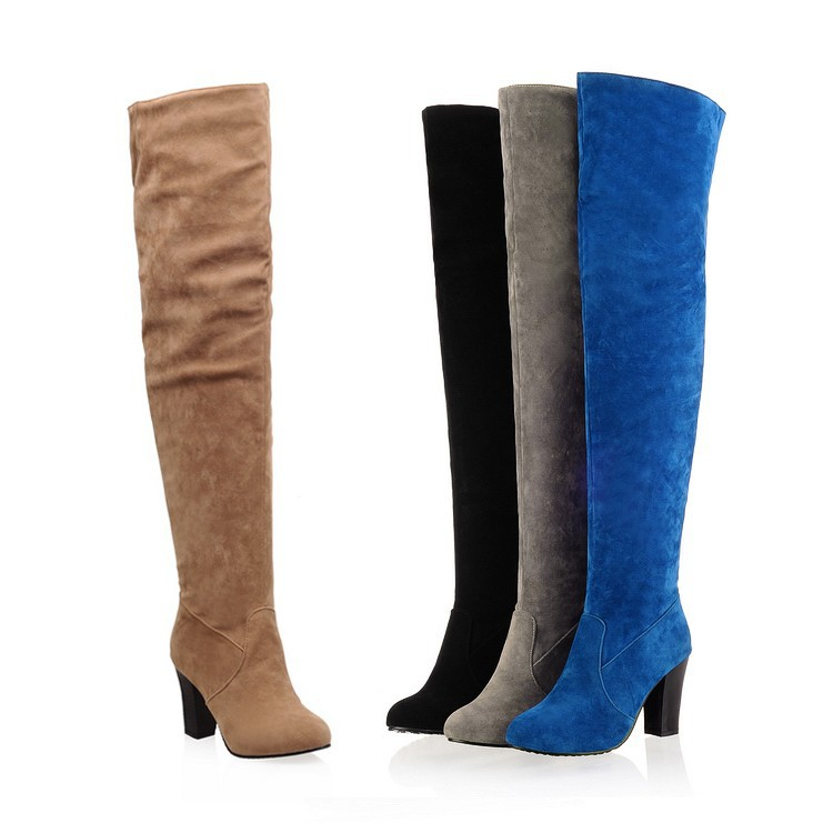 2017 New Arrival Women Winter Shoes High Heels Knee High Boots Women Round Toe Solid Fashion Shoes For Ladies size 43<br><br>Aliexpress