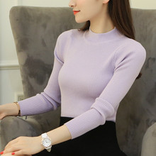 Solid Half Turtleneck Women Knitwear Autumn Winter Korean New Fashion Slim Ladies Sweaters Clothes Long Sleeve Pullovers 62808