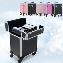 New Arrival Fashion Professional Rolling Makeup Case Multifunctional Trolley Cosmetic Case With 360 Degree Wheel