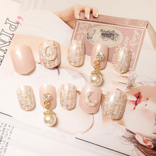 New 24 pieces Moon Pattern Pink Cute Pure Color 3D Style Plastic Art Short Fake False Sticker Nail Tips With Glue Gel [N558]