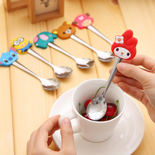 2 Pcs/Lot Cartoon Spoon Stirring Coffee Spoon Baby Kids Dessert Spoon Feeding Children Spoon with Silicone Handle Tableware