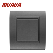 MVAVA Electrical Wall Light Switch 16A 250V 1 Gang 1 Way Decorative Fire-Proof Gray Color PC Panel Push Button Light Switch