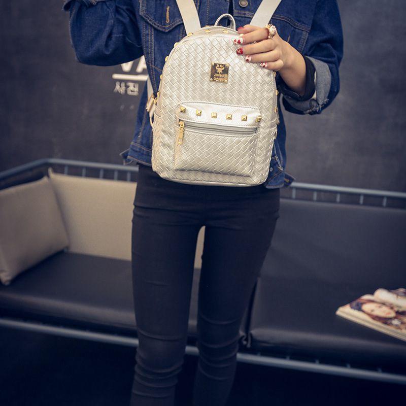 Hanup 2016 New Design GOLD BLACK Fashion Laser Backpacks Pu Leather Women Backpack Travel Bag School Bags Men Backpack Mochilas<br><br>Aliexpress