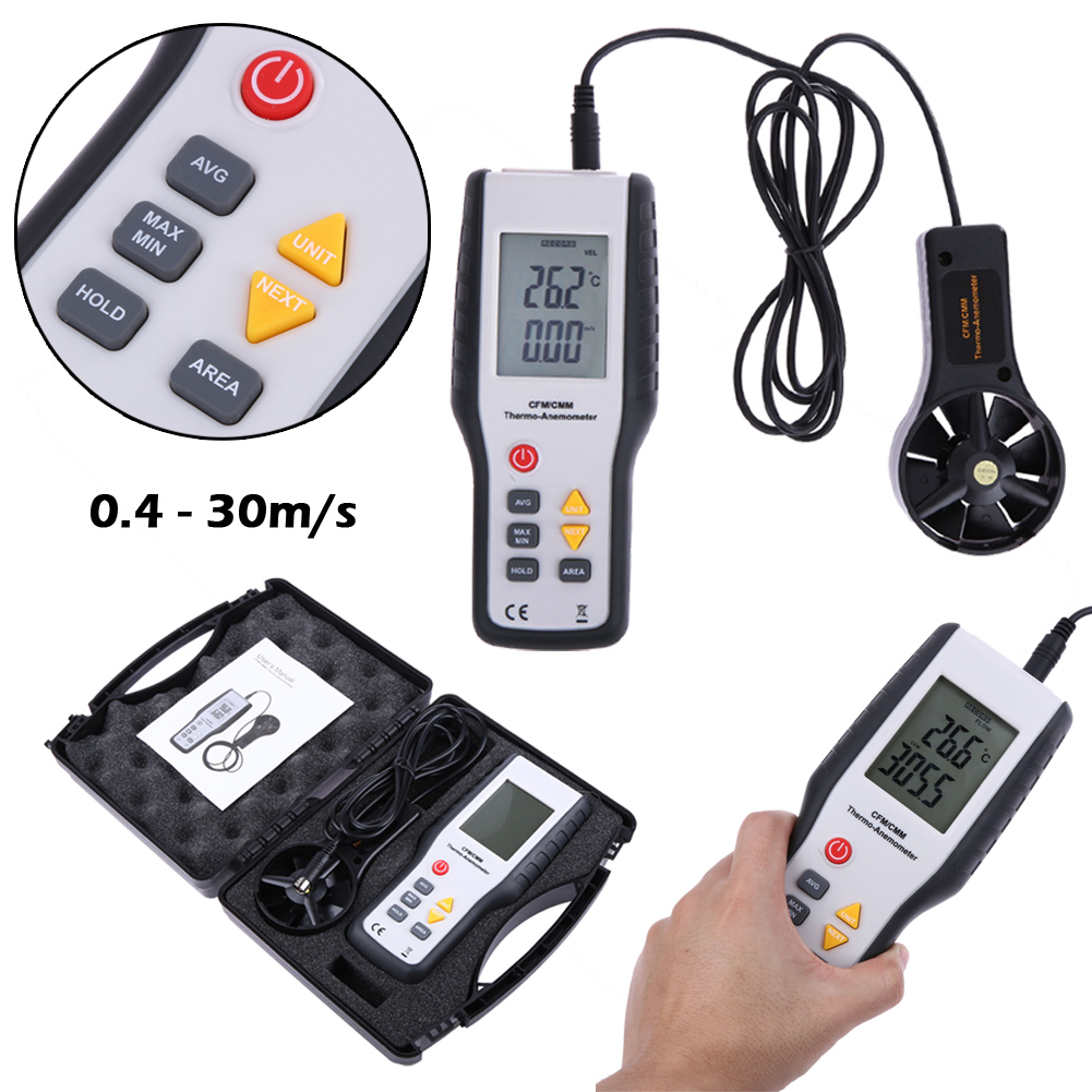Digital CFM/CMM Digital Air Wind Speed Gauge Tester Smart Anemometer Thermometer Air Velocity Flow Temperature Meter 30m/s #LO<br>