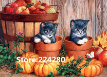 Needlework,DMC Cross stitch,14CT Unprinted Embroidery kit Art Halloween two cats and pumpkins Cross-Stitching,DIY Handmade decor(China)