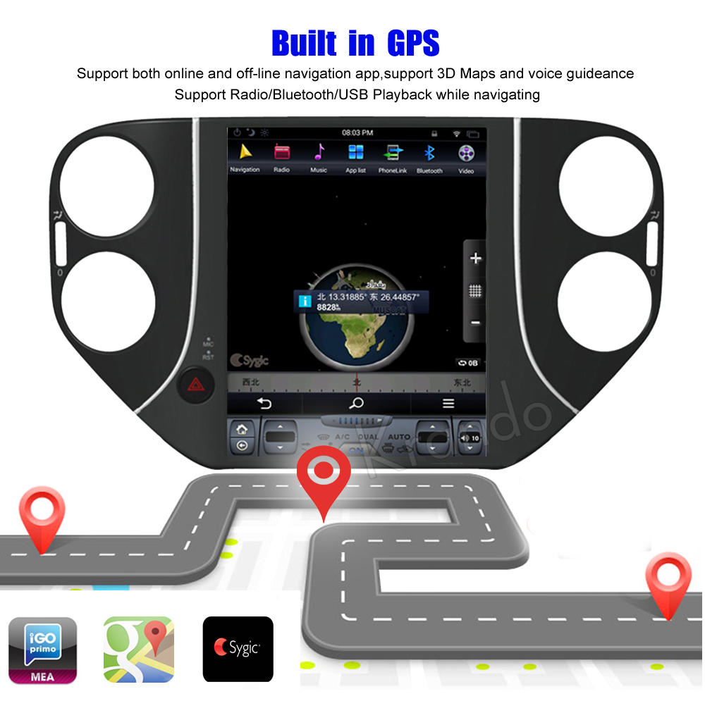 Krando Vertical screen android car radio multimedia for VW Volkswagen tiguan Big screen navigation with gps system (1)