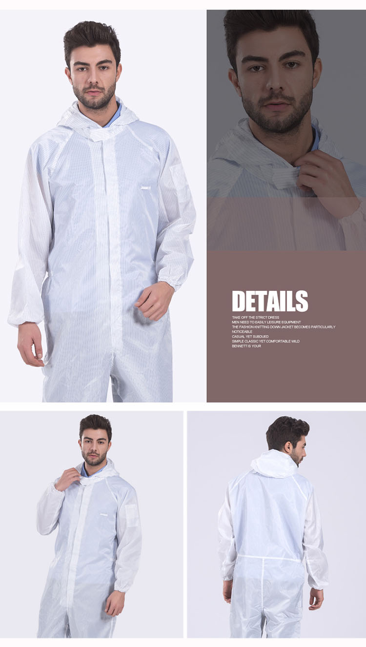 Men Anti-static Coverall clothing Hooded  Cleanroom Garments Protective Work clothing Dust-proof Paint Factory Working uniforms (11)