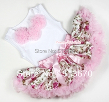 White Baby Pettitop with Light Pink Rosettes with Light Pink Rose Fusion Newborn Pettiskirt MANG1133