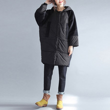 Johnature Women Hooded Parkas Black Coat Button 2017 Winter New Thick Warm Long Sleeve Loose Pockets Patchwork Women Parkas(China)
