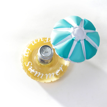 2016 Summer Blue Inflatable Toys Inflatable Floating Umbrella Drink Can Holder Swimming Pool For Party Holidays Beach Water Toys